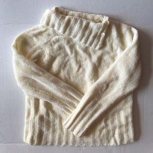 Cream Chenille Chunky Knit Button Collar Sweater